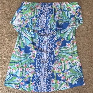 Lilly Pulitzer Wiley Strapless Top Blue Coasting M